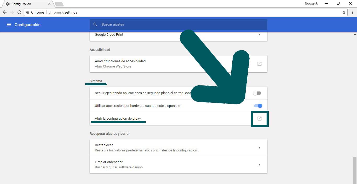 Abrir configuración de proxy Google Chrome