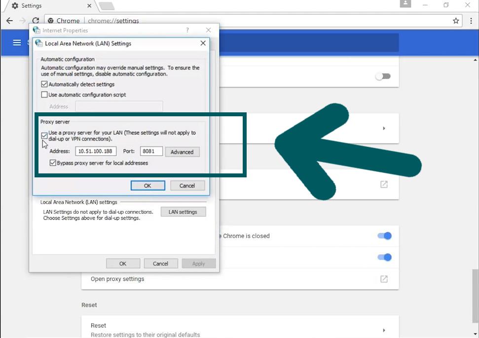 Google Chrome Proxy confiuration